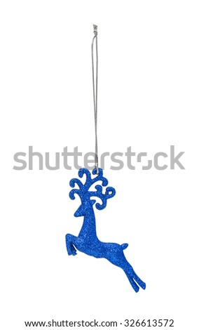 Blue Christmas hanging deer isolated on white background - stock photo