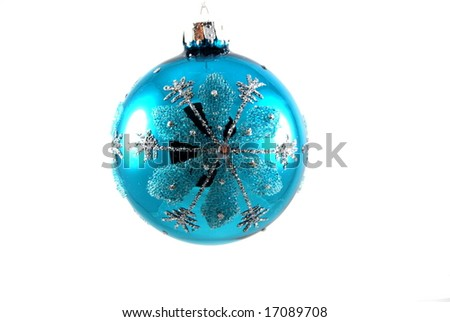 Blue christmas ornament - stock photo