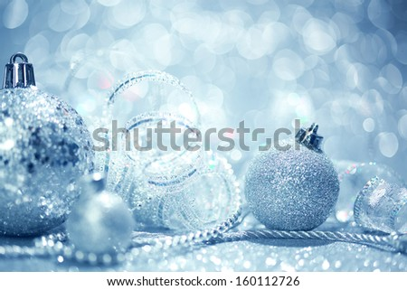 Blue Christmas ornaments background - stock photo