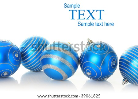 Blue Christmas ornaments, studio isolated. - stock photo