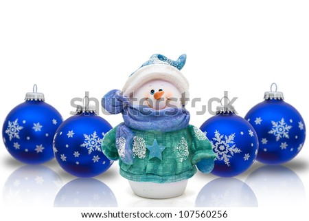 Blue Christmas ornaments with snowflakes  isolated on white, Christmas Time Snowman - stock photo