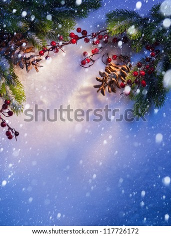 Blue Christmas snow background, frame �¢??�¢??of fir branches - stock photo