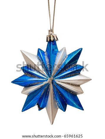 Blue Christmas star isolated over a white background - stock photo