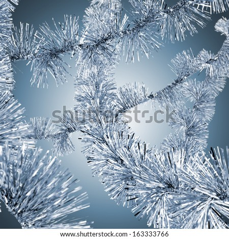 Blue christmas tinsel