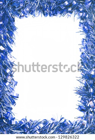 Blue Christmas tinsel garland, forming a rectangular border on white background - stock photo