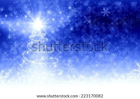 Blue Christmas Tree background - stock photo