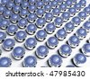 Blue chrome spheres - stock photo