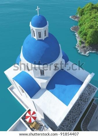 Blue church in the Greek island Santorini - 3d illustration - stock photo
