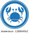 Blue Circle Crab Logo. Raster Illustration.Vector Version Also Available In Portfolio. - stock photo