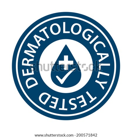 Blue Circle Dermatologically Tested Icon, Sticker or Label Isolated on White Background - stock photo