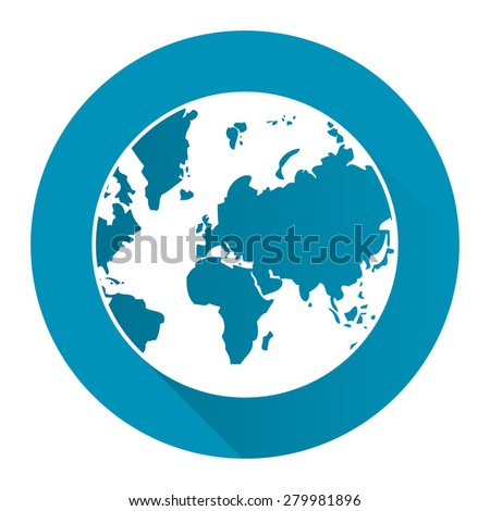 Blue Circle Earth Planet Flat Long Shadow Style Icon, Label, Sticker, Sign or Banner Isolated on White Background - stock photo