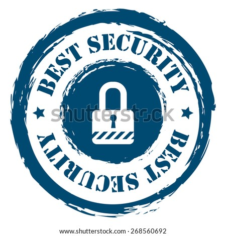 Blue Circle Grungy Best Security Stamp, Sticker, Icon or Label Isolated on White Background  - stock photo