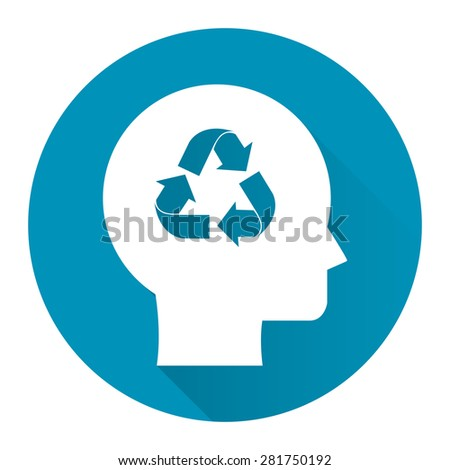 Blue Circle Head With Recycle Arrow Flat Long Shadow Style Icon, Label, Sticker, Sign or Banner Isolated on White Background - stock photo