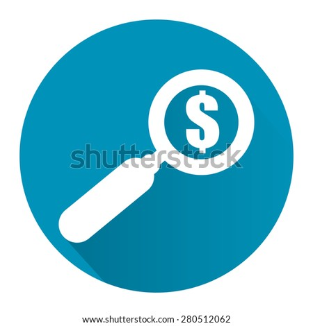 Blue Circle Magnifying Glass With Dollar Sign Flat Long Shadow Style Icon, Label, Sticker, Sign or Banner Isolated on White Background - stock photo