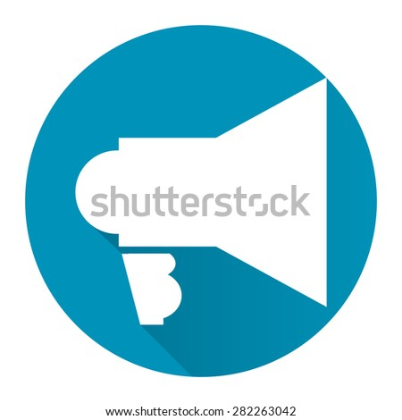 Blue Circle Megaphone Long Shadow Style Icon, Label, Sticker, Sign or Banner Isolated on White Background - stock photo