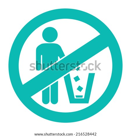 Blue Circle No Littering Prohibited Sign, Icon or Label Isolate on White Background  - stock photo