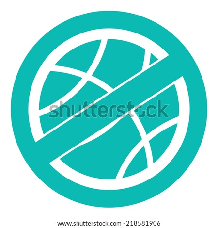 Blue Circle No Playing or No Sport Sign, Icon or Label Isolate on White Background  - stock photo
