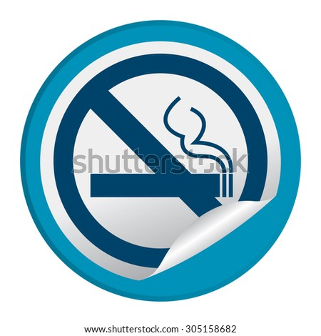 Blue Circle No Smoking Prohibited Sign Infographics , Sticker, Icon or Label Isolated on White Background  - stock photo