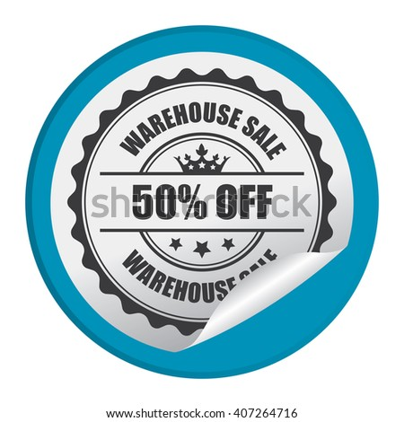 Blue Circle Warehouse Sale 50% Off Product Label, Campaign Promotion Infographics Flat Icon, Peeling Sticker, Sign Isolated on White Background  - stock photo