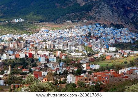 Blue city Chefchaouen, province Tangier-Tetouan, Morocco - stock photo