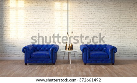 blue classic armchair in modern loft living room with white brick wall ,3D render - stock photo