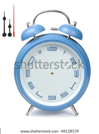 Blue classic clock alarm-clock isolated with clipping paths over white background - stock photo