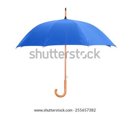 Blue classic umbrella isolated on white - stock photo