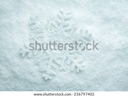Blue Clear Cristal Snow Surface With One Snowflake - stock photo