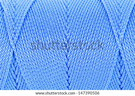 Blue Clew of twine surface close up  macro texture background  - stock photo