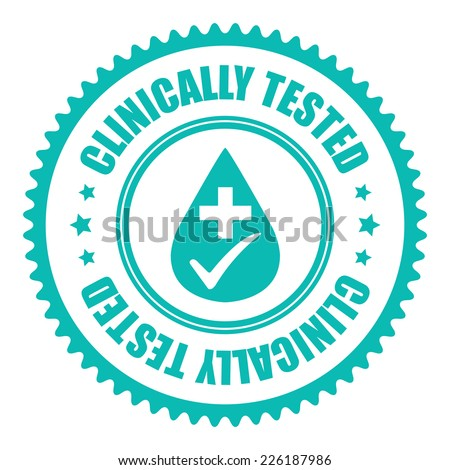 Blue Clinically Tested Icon, Sticker, Badge or Label Isolated on White Background  - stock photo