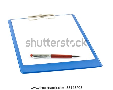 Blue clipboard with a pen isolated on white background