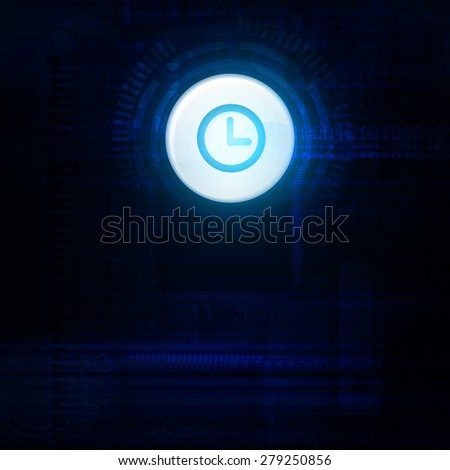 Blue clock abstract technology background - stock photo