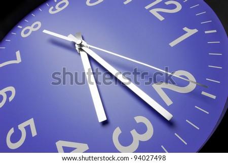Blue clock face, close up - stock photo