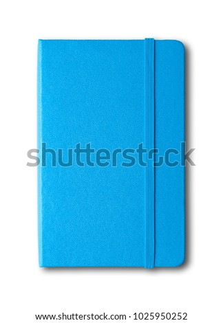 blue closed notebook mockup isolated on white