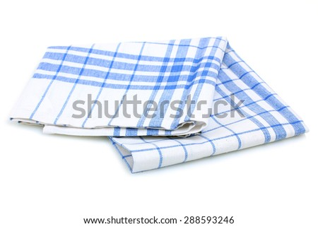 Blue cloth kitchen towel isolated on white background - stock photo