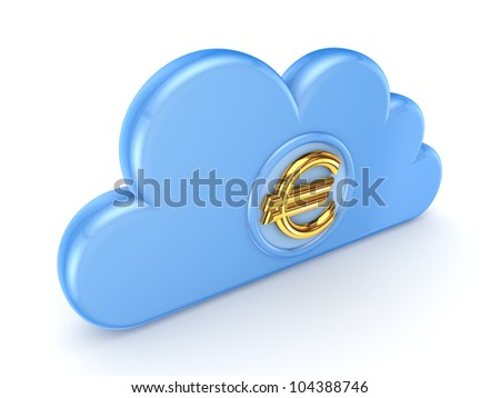 Blue cloud and euro sign.Isolated on white background.3d rendered. - stock photo