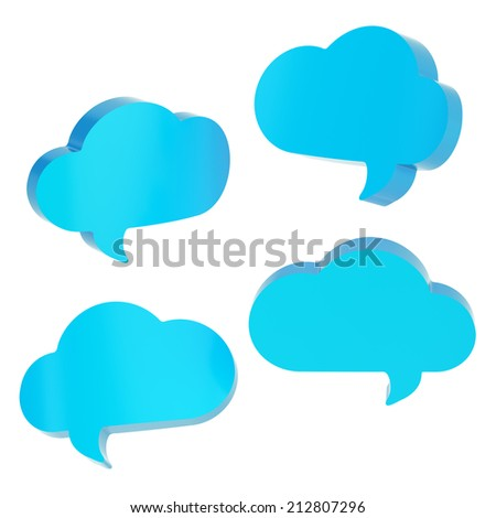 Blue cloud shaped text bubble shapes isolated over the white background, set of four foreshortenings - stock photo