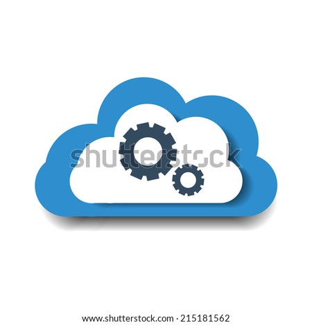 Blue cloud with gears. Cloud with cogs. Cloud computing technology