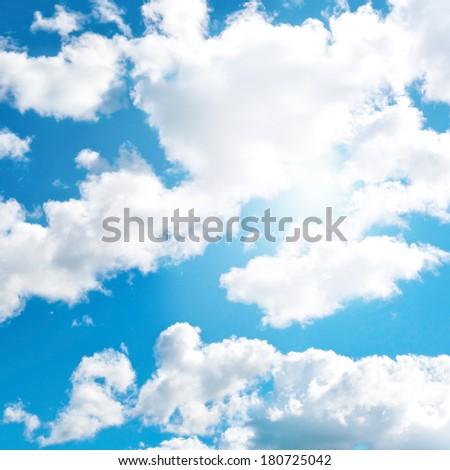 Blue cloudly sky background - stock photo