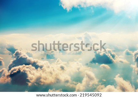 Blue clouds and sky. Natural background - stock photo
