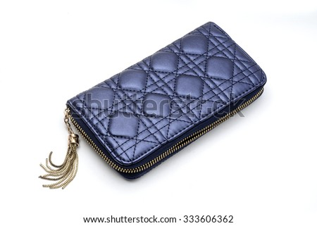 blue clutch purse isolated on a white - stock photo