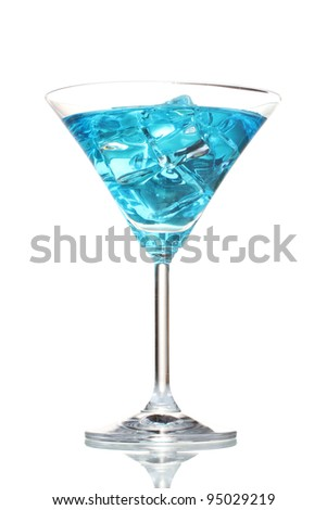 Blue cocktail in martini glass with ice isolated on white - stock photo