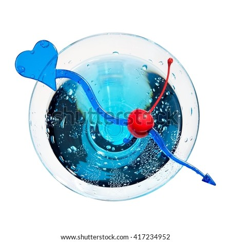 Blue cocktail with a cherry, top view - stock photo