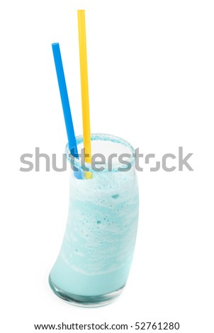 blue cocktail with ice-cream, coconut syrup,cream, orange and cherry juice