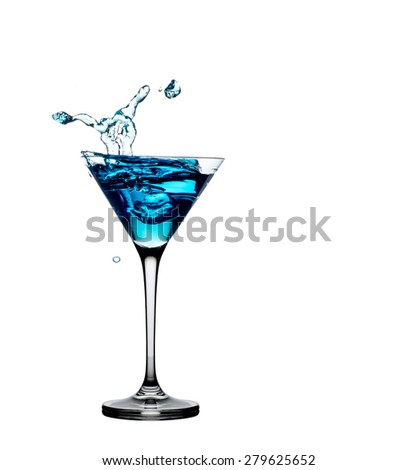 Blue cocktail with splash isolated on white - stock photo