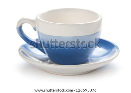 blue coffee cup with saucer - stock photo