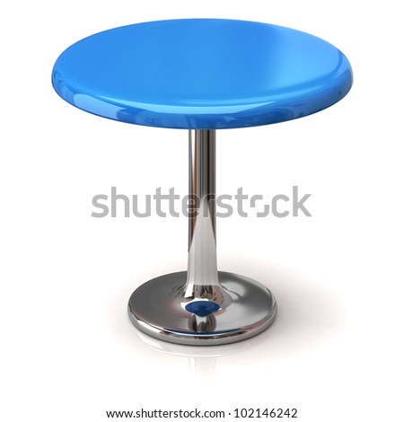Blue coffee shop table isolated on white background - stock photo