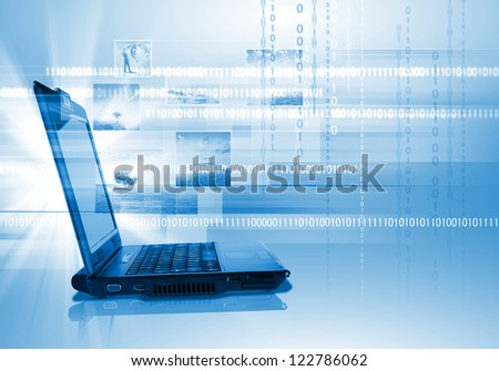 Blue collage with notebook and images on the background. - stock photo
