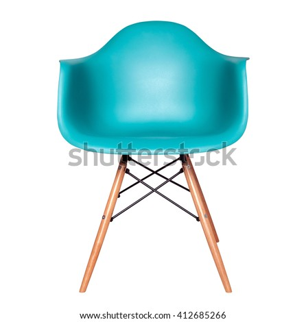 Blue color chair, modern designer chair isolated on white background. Plastic chair cut out. Series of furniture - stock photo