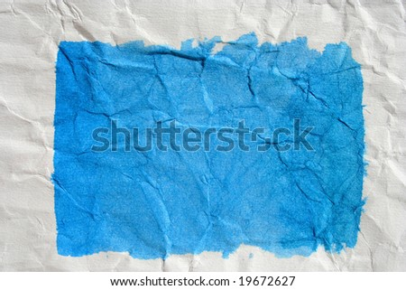 Blue color framed painted crushed paper as background. - stock photo